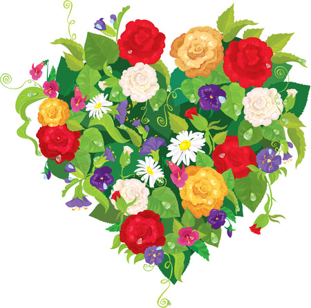 Heart shape is made of beautiful flowers - roses, pansies, bell flowers isolated on white background. Vector