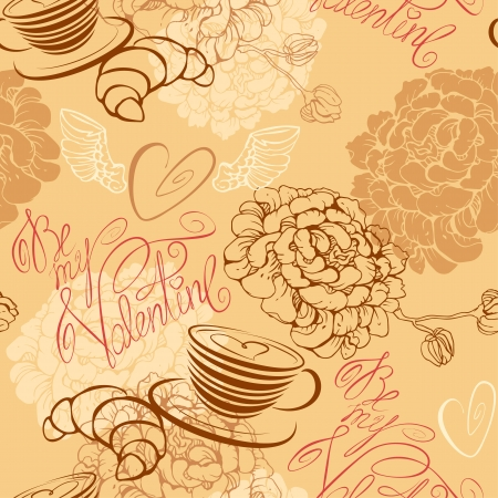 Love concept - seamless pattern with cup of coffee, croissant, flowers and calligraphic text Be my Valentine. Valentine`s Day background Vector
