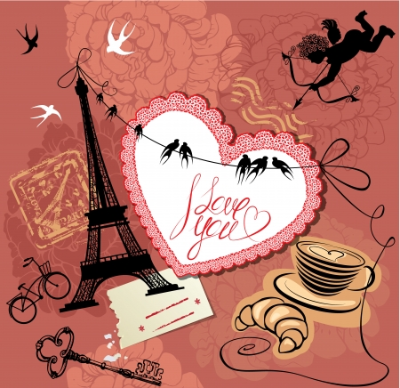 Vintage Valentines Day Postcard with Paris theme - Effel tower, heart, angel and calligraphy text I love you. Vector