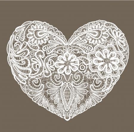 saint valentin coeur: En forme de coeur est fait de napperon en dentelle, �l�ment pour la Saint Valentin ou la conception de mariage.