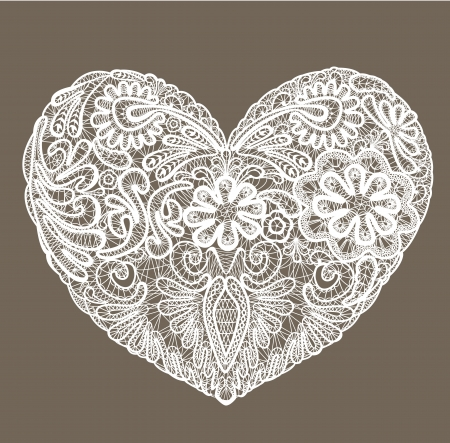 Heart shape is made of lace doily, element for Valentines Day or Wedding design. Vector