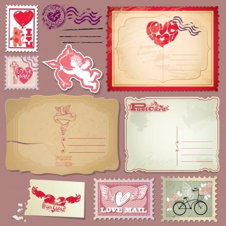 Set van vintage ansichtkaarten en postzegels voor Valentijnsdag ontwerp.