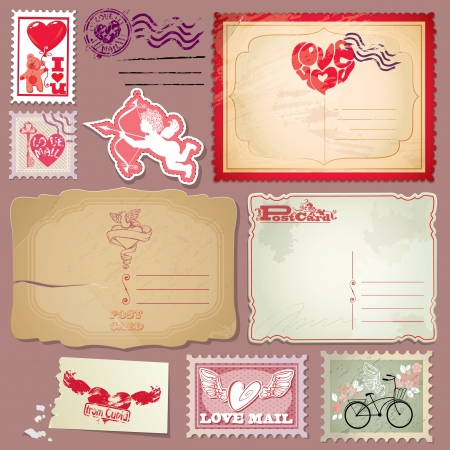 Set of vintage postcards and post stamps for Valentines Day design. Vector