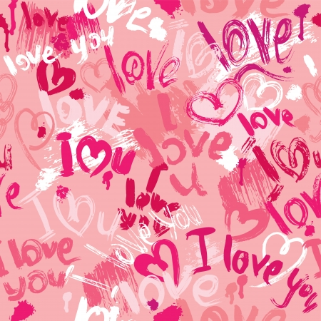 valentine passion: Seamless pattern with brush strokes and scribbles in heart shapes and words LOVE, I LOVE YOU - Valentines Day Background.