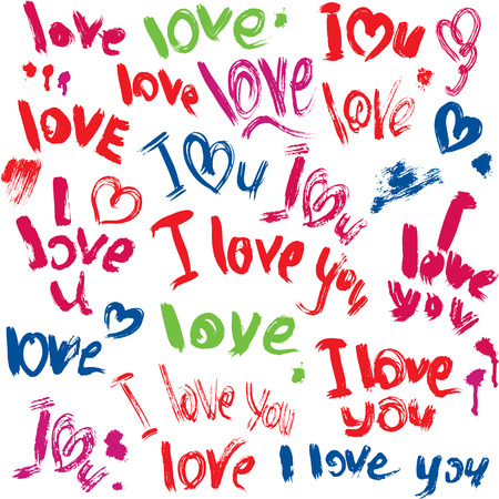 Set of brush strokes and scribbles in heart shapes and words LOVE, I LOVE YOU - sketch elements for Valentines Day design. Vector