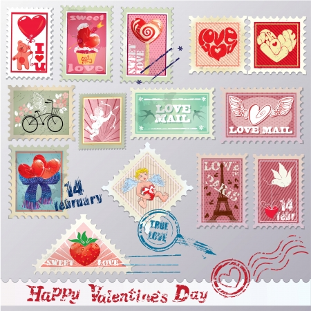 Set of vintage post stamps with hearts for Valentines Day design. Vector