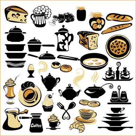 crockery: Set of different food