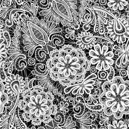 Lace seamless pattern with flowers Vectores
