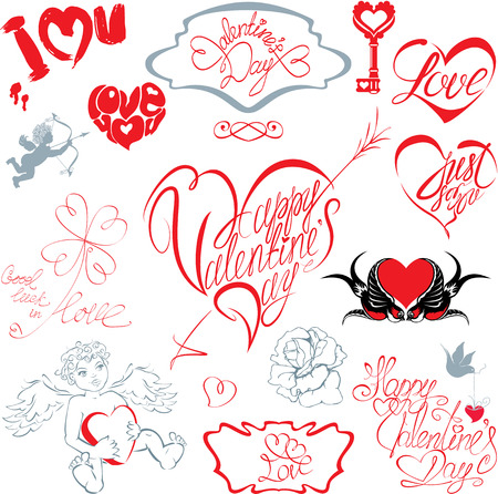 Set of hand written text: Happy Valentine`s Day Vector