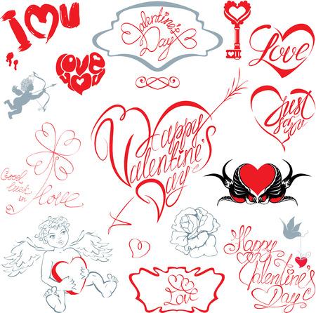 written text: Set of hand written text: Happy Valentine`s Day
