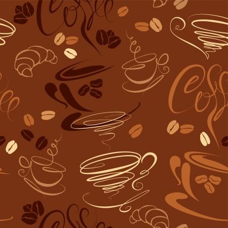 Seamless pattern with coffee cups, beans, croissant, calligraphic text COFFEE. Background design for cafe or restaurant menu. Vectores