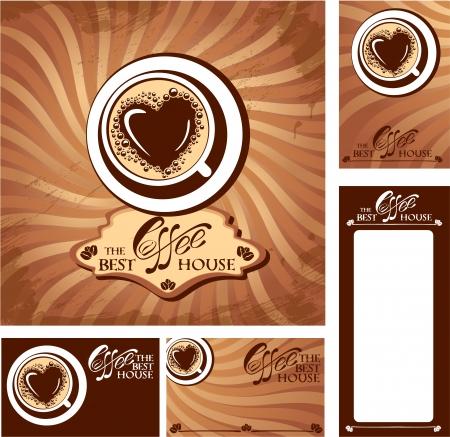 caf�: Disegni del modello del menu e biglietti da visita per casa cofee. Sfondo per il ristorante o bar menu.