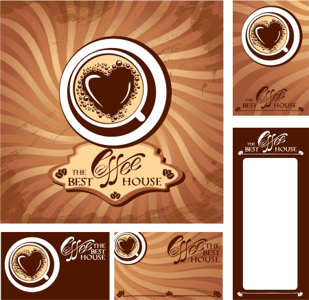 Template designs of menu and business cards for cofee house. Background for restaurant or cafe menu.  Vector