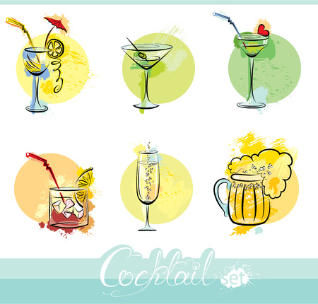 highball: Set of alkohol drinks images in grunge style. Calligraphy elements for cafe or restaurant design.