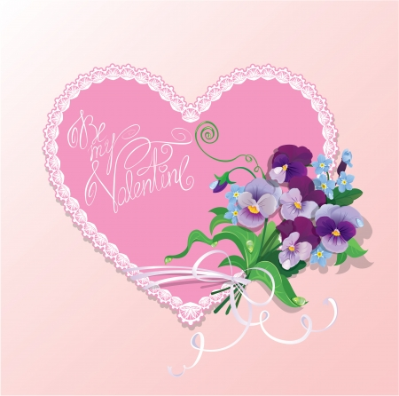 forget me not: Bouquet of beautiful pansy and forget me not flowers, lace heart and calligraphic text Be my Valentine - Background for Valentines Day design.