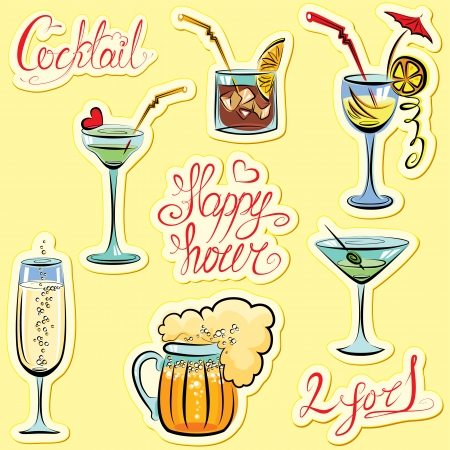 Set of alkohol drinks images and hand written text: Happy Hour, Cocktail, 2 for 1. Calligraphy elements for cafe or restaurant design. Vector