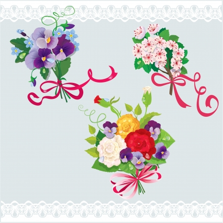 forget me not: Set of holidays bouquets with sakura, roses, pansies and forget me not flowers. Elements for holiday design.