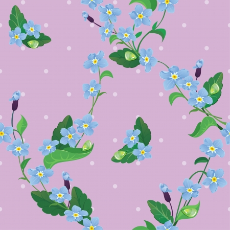 Seamless pattern with beautiful flowers - forget me not - floral  background. Vector