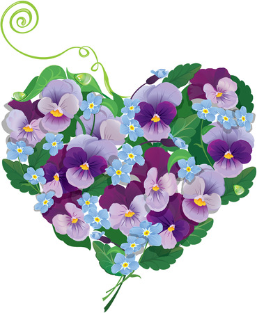 forget me not: Heart shape is made of beautiful flowers - pansy and forget me not - floral  background. Illustration