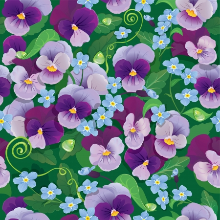 forget me not: Seamless pattern with beautiful flowers - pansy and forget me not - floral  background.