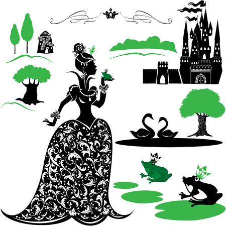 castillos de princesas: Set de cuento de hadas - siluetas de la princesa y la rana, castillo, bosque, lago, cisnes.