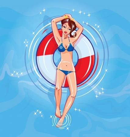 Cute girl dressing bikini floating on a lifebuoy in a swimming pool Vector