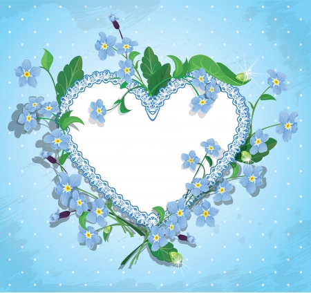 forget: Bouquet of beautiful forget me not flowers and lace heart on blue polka dot background. Design  for Valentines Day, Birthday or Wedding card.