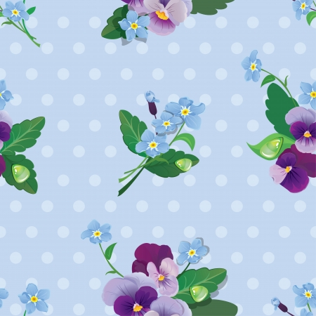 forget me not: Seamless pattern with beautiful flowers - forget me not and pansy - floral  background.