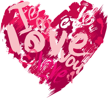Heart shape is made of brush strokes and scribbles and words LOVE, I LOVE YOU - element for Valentines Day or wedding design Vector
