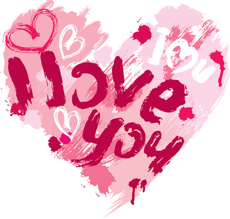 Heart shape is made of brush strokes and scribbles and words LOVE, I LOVE YOU - element for Valentines Day or wedding design