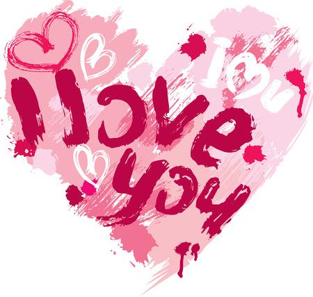 te amo: La forma del corazón está hecho de pinceladas y garabatos y las palabras del AMOR, TE AMO - elemento para el Día de San Valentín o diseño de la boda