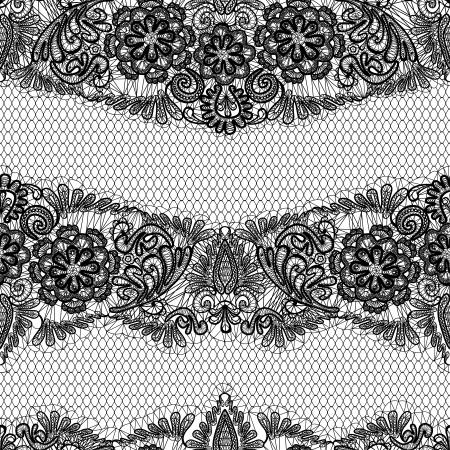 dekorativa mönster: Black Lace sömlös mönster med blommor på vit bakgrund - tyg konstruktion