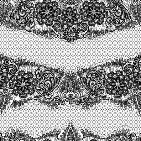 black fabric: Black Lace seamless pattern with flowers on white background  - fabric design