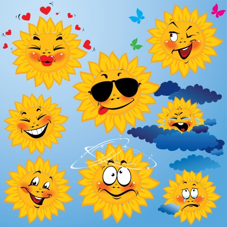 Set of cute cartoons of sun with different expressions and emotions. Design for travel and summer holiday.