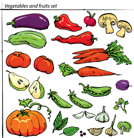 organic farming: Set of delicious vegetables and fruits. Illustration