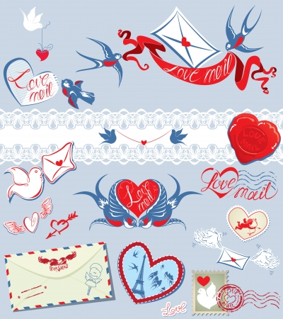envelops: Collection of love mail design elements - birds, envelops, hearts, calligraphic text LOVE MAIL - Valentine`s Day or Wedding postage set.  Illustration