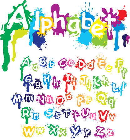 Hand drawn alphabet - letters are made of  water colors, ink splatter, paint splash font. Vectores