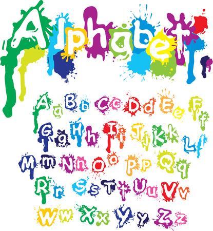 splatter: Dibujado a mano alfabeto - letras están hechas de colores de agua, salpicaduras de tinta, fuente salpicaduras de pintura.