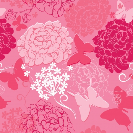 Seamless pattern with butterflies silhouettes and hand drawn flowers - abstract background in pink colors Illustration