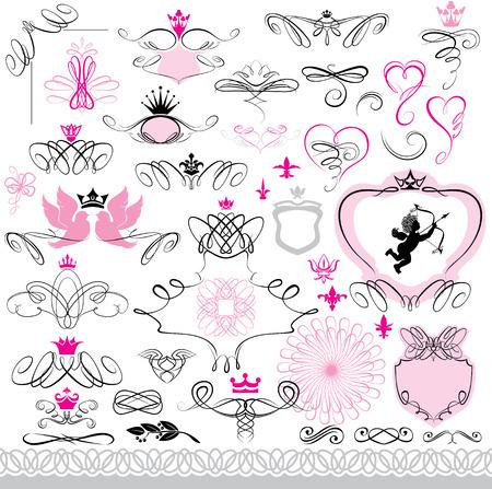heart and crown: Insieme di elementi di design e decorazioni calligrafiche pagina con il cuore, corona, fiore, angelo, colomba.