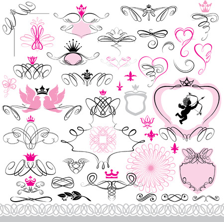 heart with crown: Set of calligraphic design elements and page decoration with heart, crown, flower, angel, dove.
