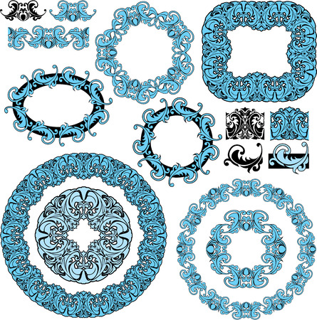 set of round and oval frames and vintage design elements  Vector