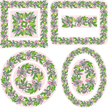 Set of different patterns and borders - square, rectangular, round, oval frames - with hand drawn orchid flowers. Vector