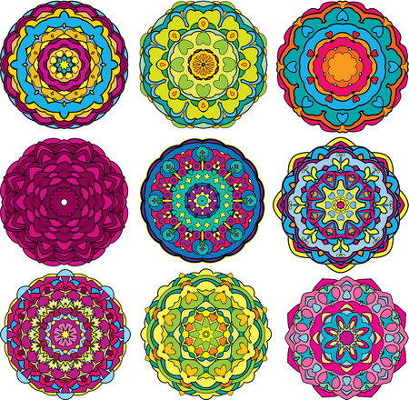 Set of 9 colorful round ornaments, kaleidoscope floral patterns.  Vector