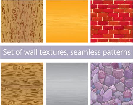 pavimento lucido: Insieme di diverse texture della parete - legno, argento e oro in metallo, mattoni, pietre - modelli senza soluzione