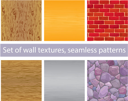 Set of different wall textures - wood, silver and  gold metal, brick, stones - seamless patterns Vector