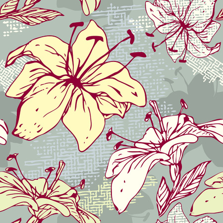 Floral Seamless Pattern with hand drawn flowers - tiger lilly.  Vector