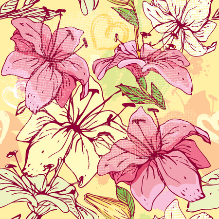 flores: Floral Seamless Pattern with hand drawn flowers - tiger lilly