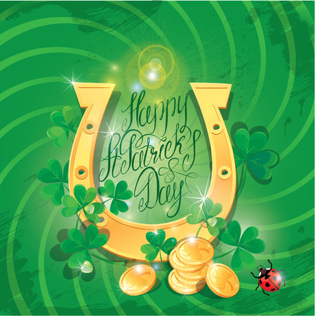 Holiday card with calligraphic words Happy St. Patrick`s Day. Shamrock, horseshoe, ladybug and golden coin on dark green background  Vector