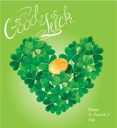 trifolium: Holiday card with calligraphic words Good Luck and Shamrock heart with golden coin on green background  Illustration